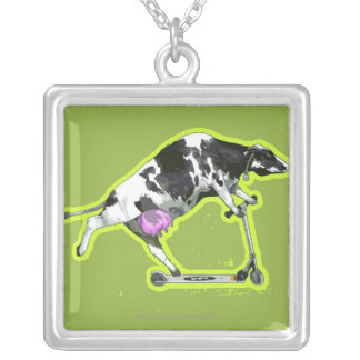 Cow Riding a Scooter Silver Plated Necklace