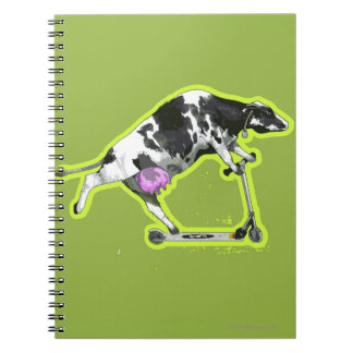 Cow Riding a Scooter Spiral Notebook