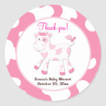 Cow Round Favour Sticker  - Pink