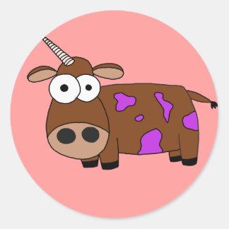 cow round stickers