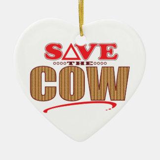 Cow Save Christmas Ornament