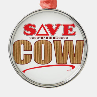 Cow Save Silver-Colored Round Decoration