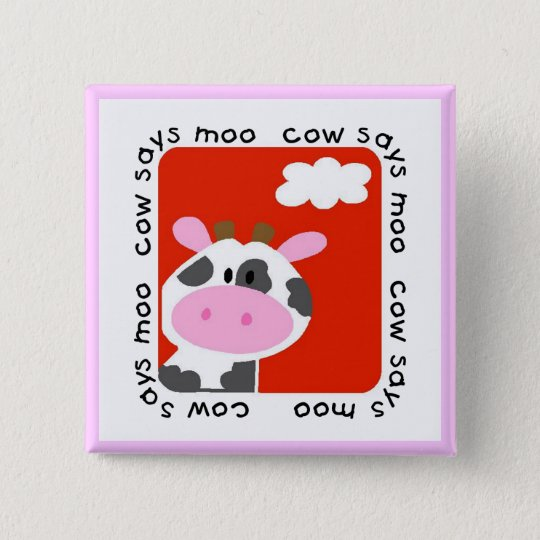 Cow Says Moo Tshirts and Gifts 15 Cm Square Badge