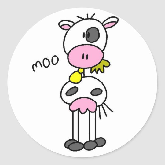 Cow Says Moo Tshirts and Gifts Round Sticker