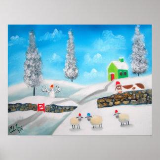 COW SHEEP folk winter SNOW SCENE painting G Bruce Print