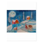 cow sheep winter snow scene folk art postcard