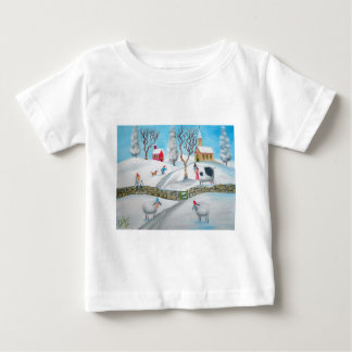 cow sheep winter snow scene naive folk art baby T-Shirt