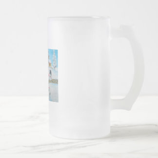 cow sheep winter snow scene naive folk art frosted glass mug