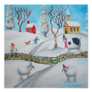 cow sheep winter snow scene naive folk art posters