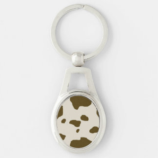 COW SKIN Brown Silver-Colored Oval Key Ring