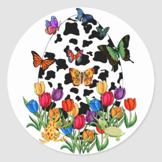 Cow Skin Easter Egg Round Sticker