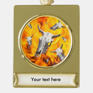 Cow skull and fire gold plated banner ornament