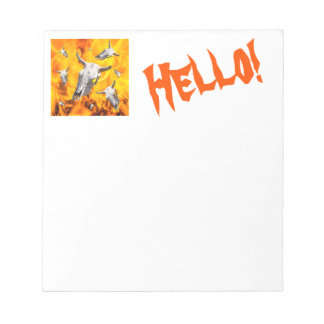 Cow skull and fire notepad
