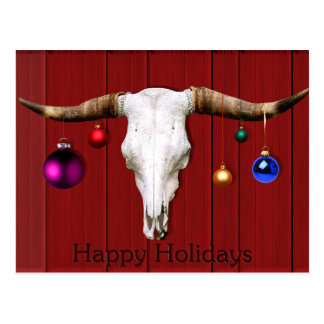 Cow Skull Christmas Ornaments Red Barn Happy Hol Postcard