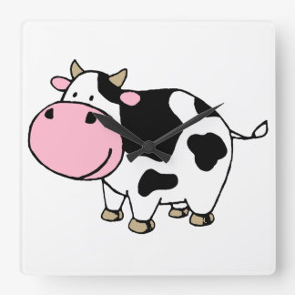 Cow Square Wall Clock