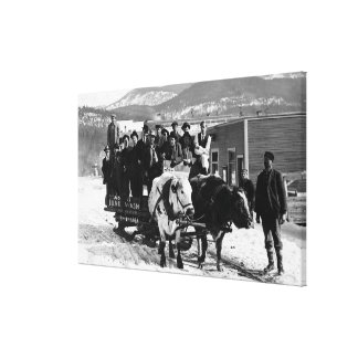 Cow Team Pulling Men in a Wagon Canvas Print