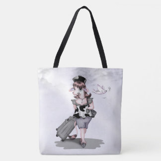 COW TRAVEL All-Over-Print Tote Bag LARGE