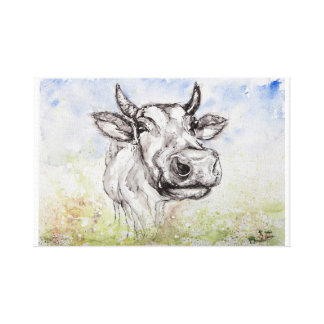Cow Watercolor illustration Canvas Print