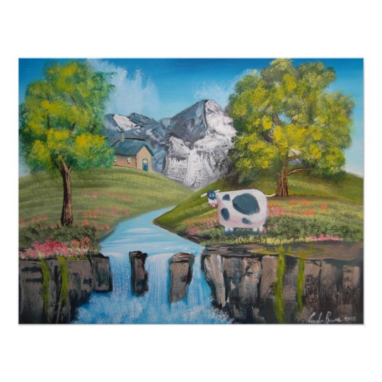 Cow waterfall folk art oil painting by G Bruce Poster
