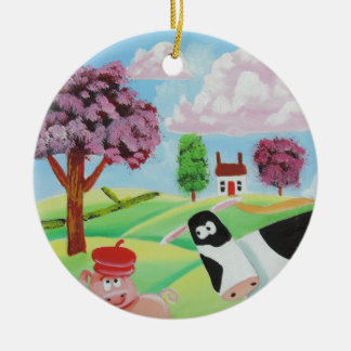 cow with a pig folk art painting christmas ornament