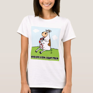 Cow with a straw T-Shirt