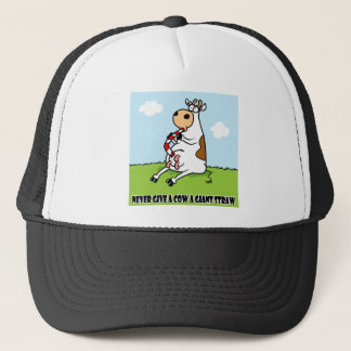 Cow with a straw trucker hat