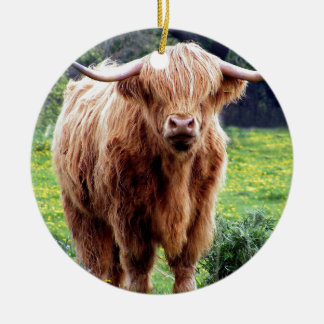 Cow with big horns beautiful nature scenery round ceramic decoration
