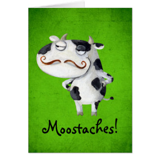 Cow with Mustaches Greeting Card
