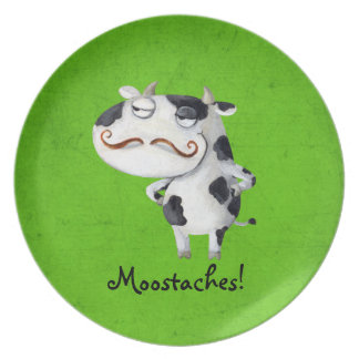Cow with Mustaches Plate