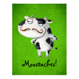 Cow with Mustaches Postcard