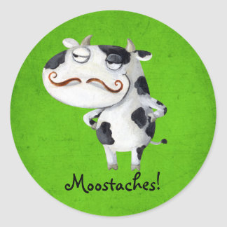 Cow with Mustaches Round Sticker