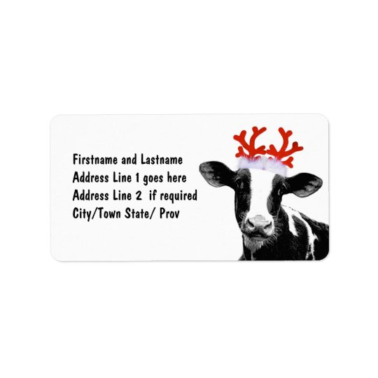 Cow with Reindeer Antlers Address Label