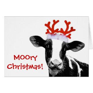 Cow with Reindeer Antlers Greeting Card