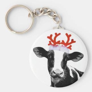Cow with Reindeer Antlers Key Ring