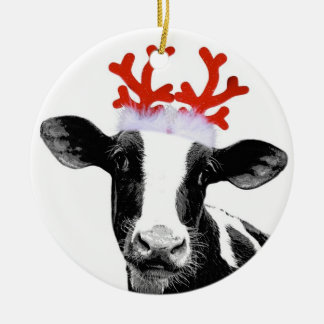 Cow with Reindeer Antlers Round Ceramic Decoration