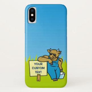 Cow with Sign iPhone X Case