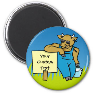 Cow with sign 6 cm round magnet