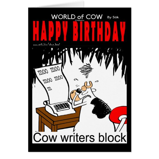 Cow Writers Block Card