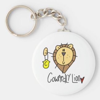 Cowardly Lion Basic Round Button Key Ring
