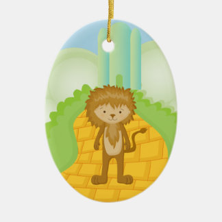 Cowardly Lion on Yellow Brick Road Ornament