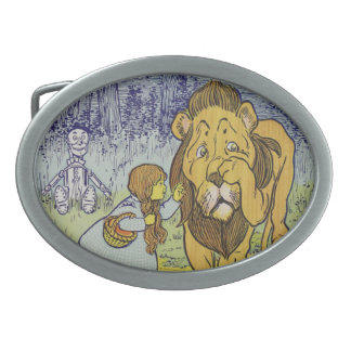Cowardly Lion Wizard of Oz Book Page Oval Belt Buckles