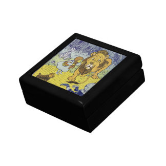 Cowardly Lion Wizard of Oz Book Page Small Square Gift Box