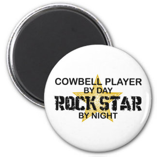 Cowbell Player Rock Star by Night 6 Cm Round Magnet