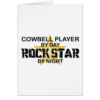 Cowbell Player Rock Star by Night Greeting Card