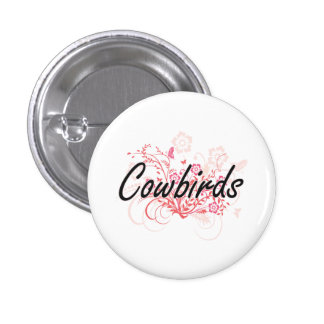 Cowbirds with flowers background 3 cm round badge