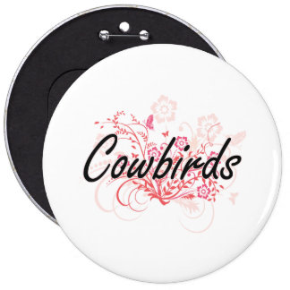Cowbirds with flowers background 6 cm round badge