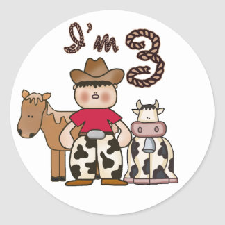 Cowboy 3rd Birthday Round Sticker