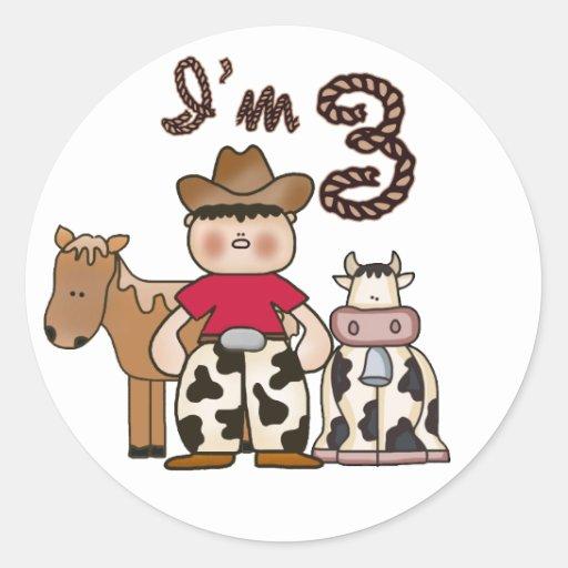 Cowboy 3rd Birthday Round Sticker