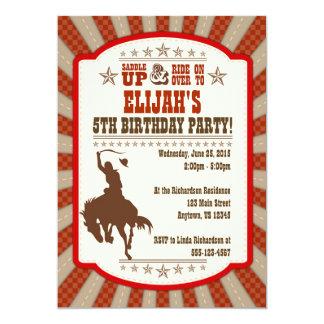 "Cowboy 5th Birthday Party Invitation 5"" X 7"" Invitation Card"