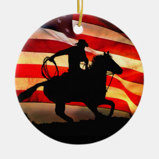 Cowboy and American Flag Christmas Ornamemt Christmas Ornament